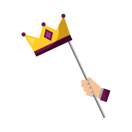 hand with monarchical crown in stick vector illustration design Illustration
