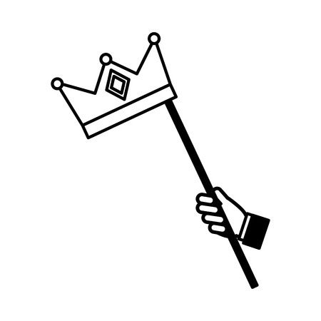 hand with monarchical crown in stick vector illustration design Ilustracja