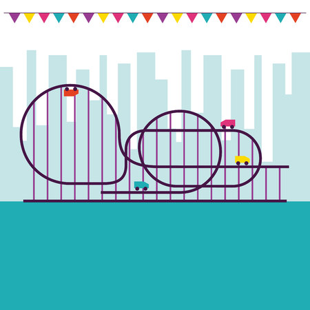 circus and fair roller coaster pennants city park vector illustration Ilustrace