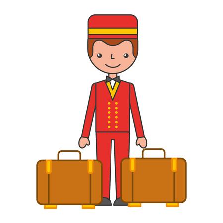 hotel bellboy service character vector illustration design