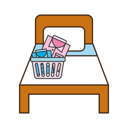 hotel bed with basket and clothes vector illustration design