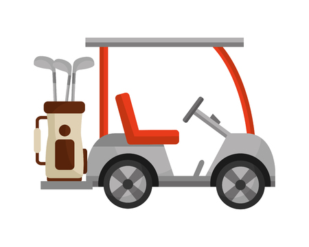 golf cart and bag with clubs isolated icon vector illustration design Ilustração