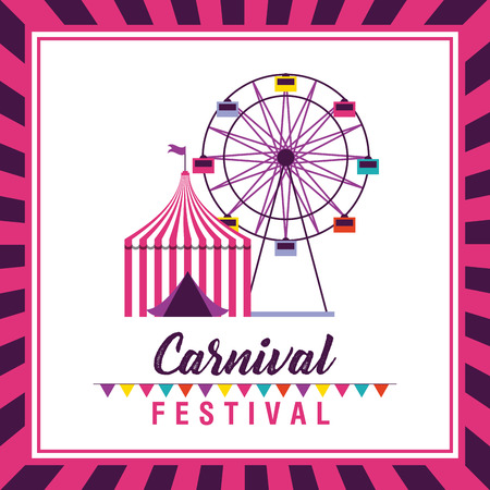 carnival festival ferris wheel tent vector illustration