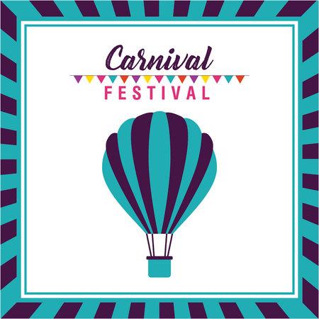 carnival festival hot air balloon frame vector illustration Illustration