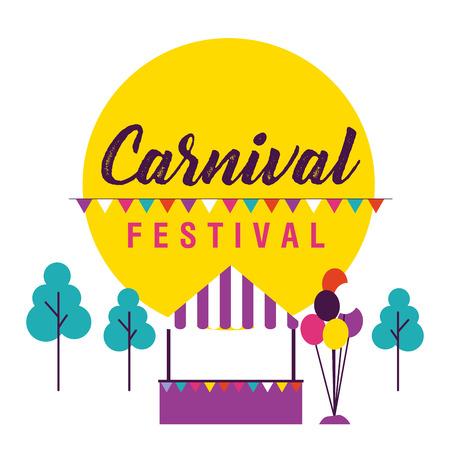 carnival festival pennants park booth balloons vector illustration