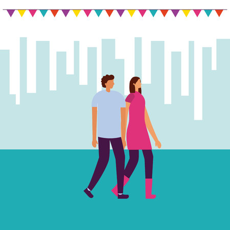 couple holding hands walking park pennants vector illustration