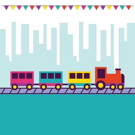 fair pennants city park train vector illustration Illustration