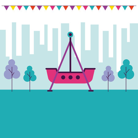 fair pennants ship city outdoor enjoy vector illustration