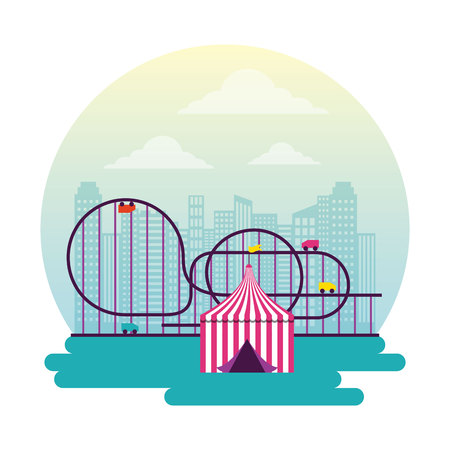 circus and fair roller coaster tent park vector illustration Illustration