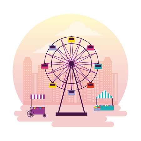 circus and fair ferris wheel booths vector illustration Ilustracja