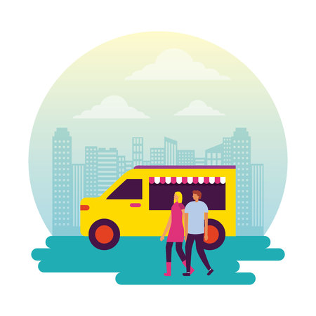 fair city park couple holding hands food truck vector illustration