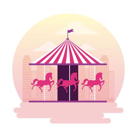 circus and fair carousel outdoor park vector illustration Illustration