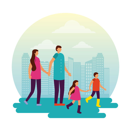 family walking outdoor park city vector illustration