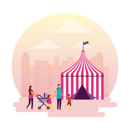 circus and fair tent family enjoy outdoor vector illustration