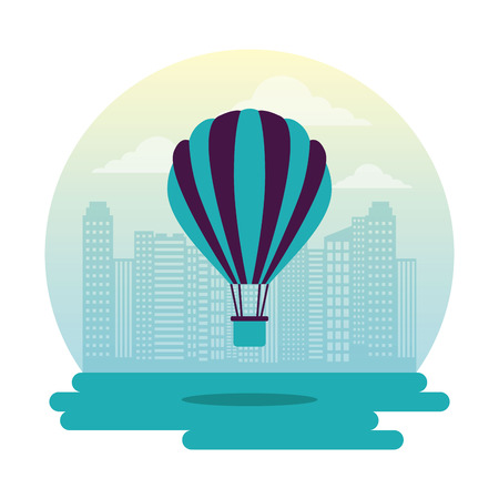 fair hot air balloon city outdoor vector illustration