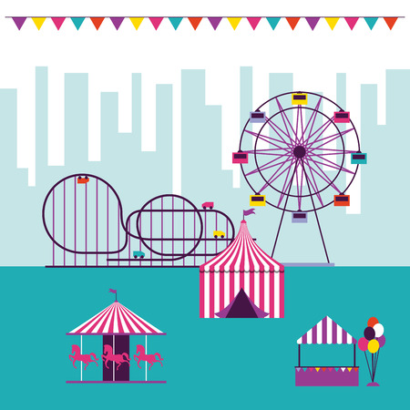 circus and fair pennants roller coaster tent carousel ferris wheel vector illustration