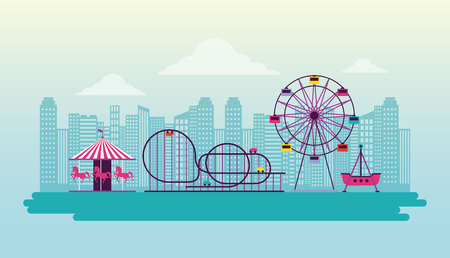 circus and fair attractions funny outdoor vector illustration