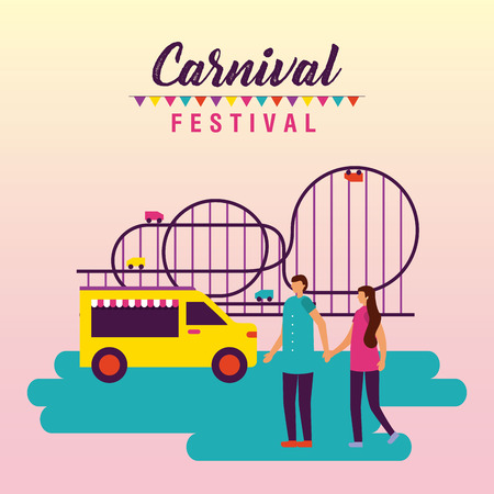circus and fair couple holding hands food truck roller coaster vector illustration