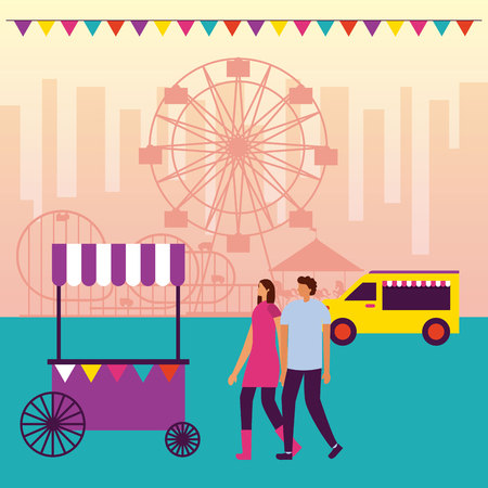 circus fair food truck couple holding hands ferris wheel vector illustration Illusztráció