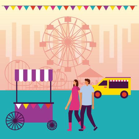 circus fair food truck couple holding hands ferris wheel vector illustration Illustration