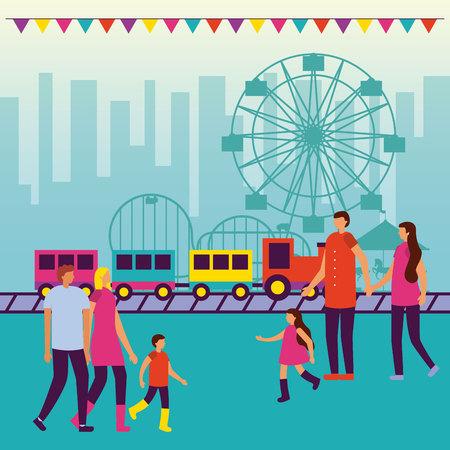 circus fair pennants ferris wheel train people enjoy outdoor vector illustration