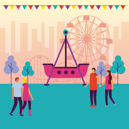 people fair trip ferris wheel roller coaster vector illustration Illustration