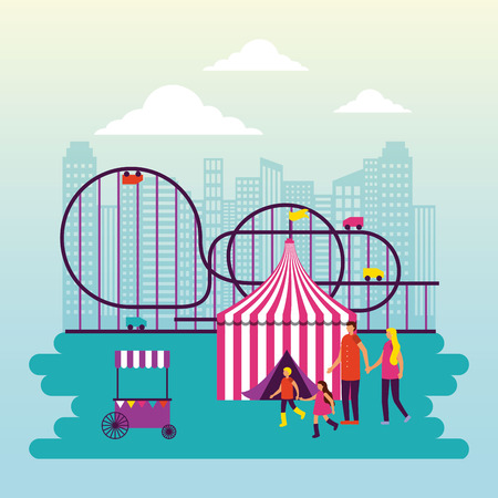circus fair roller coaster tent family funny vector illustration