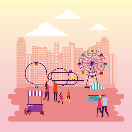 fair roller coaster ferris wheel booth people walking enjoy vector illustration