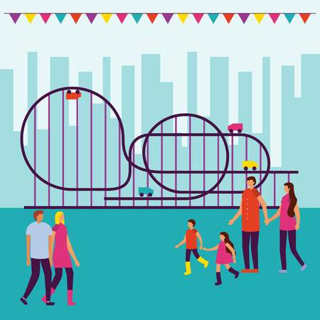 circus people fair roller coaster city park vector illustration Illustration