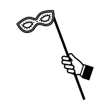 hand with mask carnival celebration in stick vector illustration design Illustration