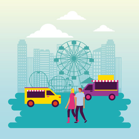 circus fair city park outdoor food truck booth couple walking vector illustration