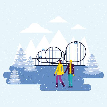 fair winter roller coaster couple holdig hands walking vector illustration