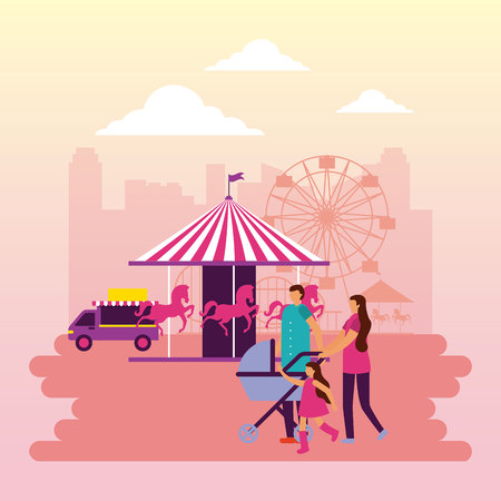 fair carousel food truck family vector illustration