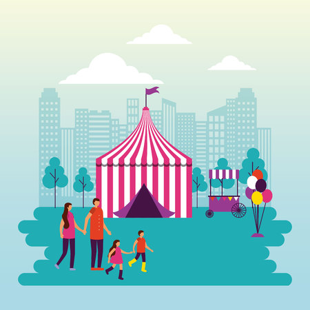 circus people fair city park vector illustration
