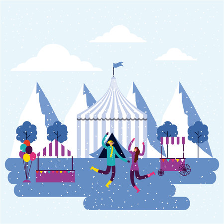 circus fair winter couple jmuping vector illustration Illustration