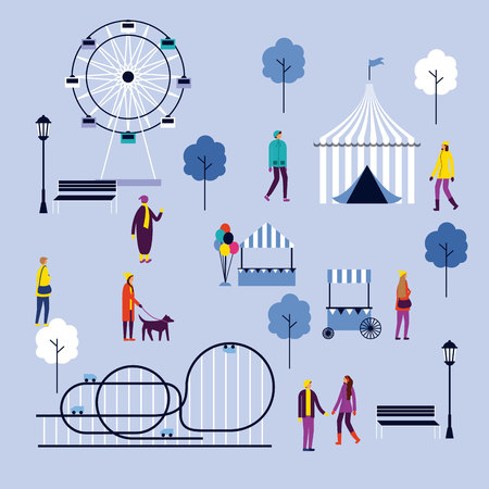 circus fair attractions people winter park vector illustration