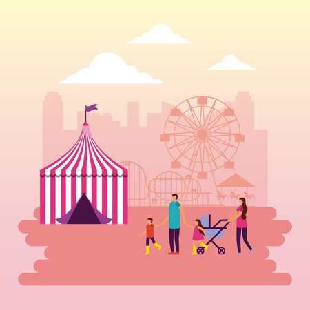 circus fair city park ferris wheel family vector illustration