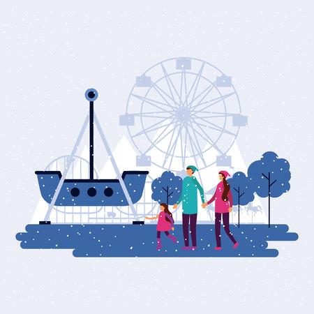 fair trip ferris wheel winter family walking vector illustration