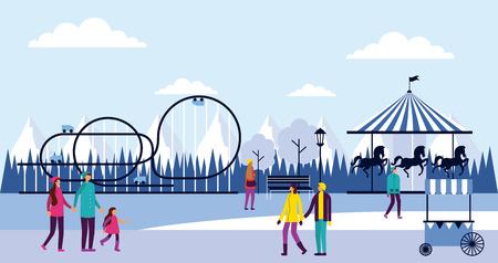 circus fair roller coaster winter alps booth vector illustration