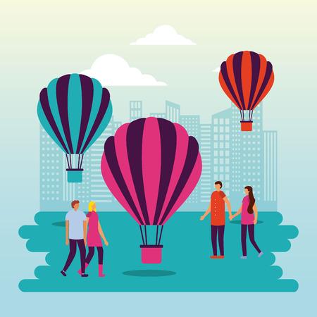 circus fair hot air balloons city park people enjoy vector illustration