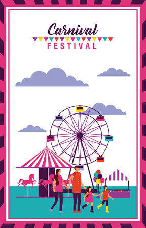 carnival festival frame people enjoy vector illustration Stock Illustratie