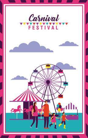 carnival festival frame people enjoy vector illustration Illustration