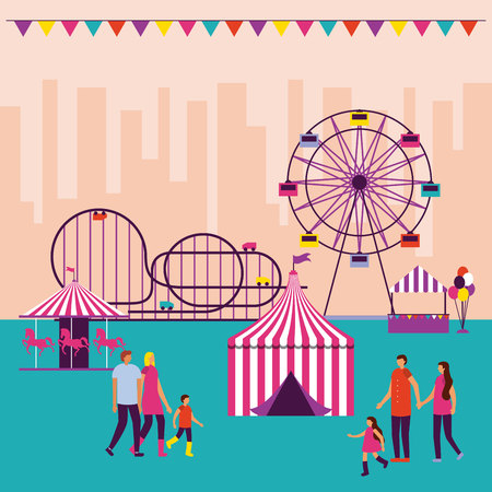 circus fair pennants attractions people vector illustration Illusztráció