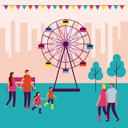 circus fair pennants ferris wheel people walking vector illustration Illusztráció