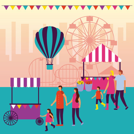 circus fair hot air balloon booths ferris wheel vector illustration