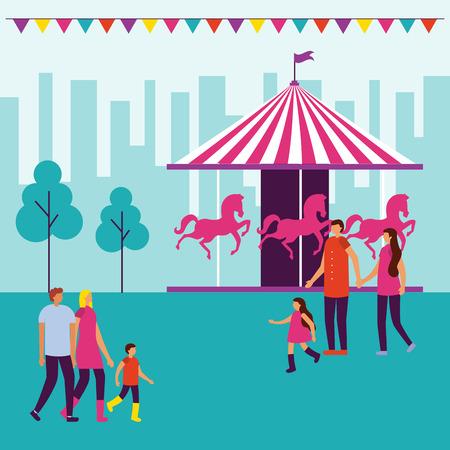 fair carousel people park outdoor vector illustration