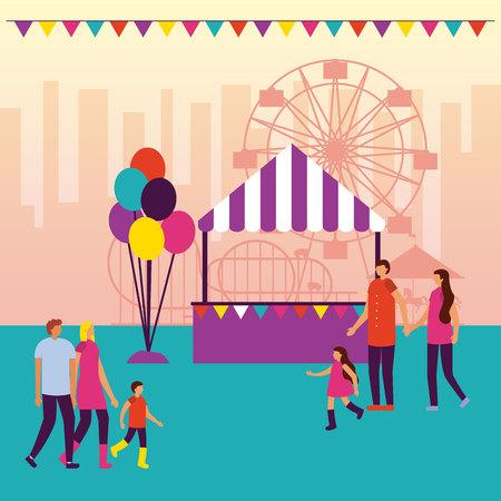 circus fair pennants booth balloons people walking vector illustration