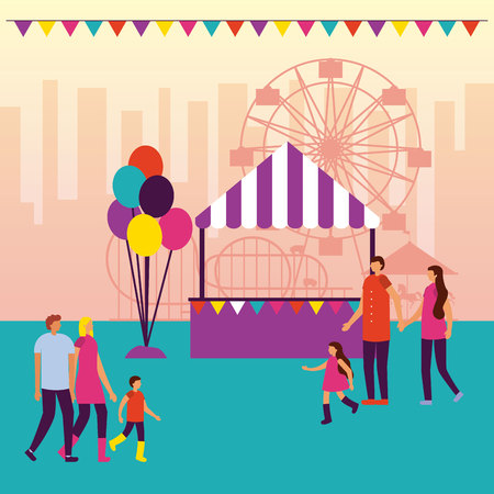 circus fair pennants booth balloons people walking vector illustration
