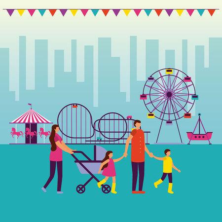 fair family walking attractions city vector illustration