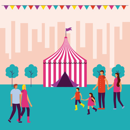 circus fair tent pennants city family couple walking vector illustration
